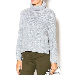 Relais Turtleneck Grey Crop Marbled Sweater